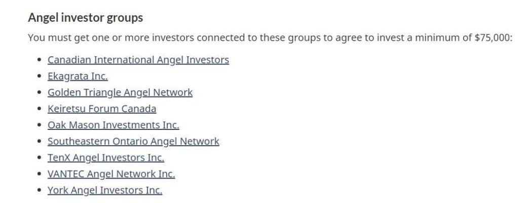 Angel Investors companies Canada list for Startup program