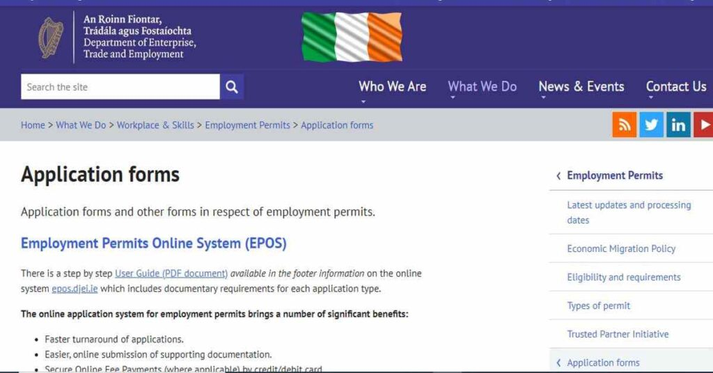 ireland work permit application form official link